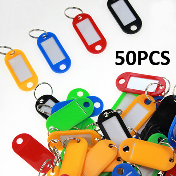 50X Plastic Key Tags Metal Ring Luggage Card Name Label Keychain W Split Ring