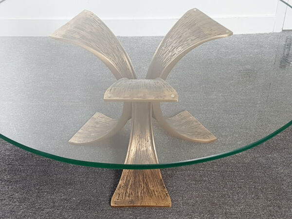 BEAUTIFUL COFFEE TABLE ROUND BRONZE SOLID & GLASS SECURIT 1970 VINTAGE 70'S