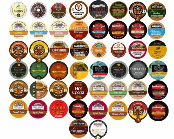 40 K Cups Variety Pack - Coffee Tea Cider Hot Chocolate All Different Brands