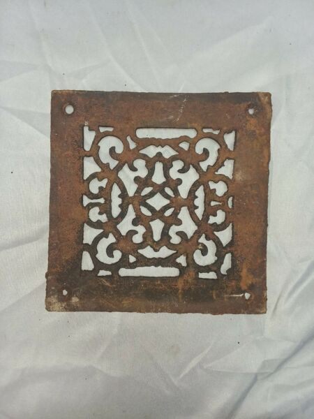 1 Antique Cast Iron Fireplace Grill Grates 8x8 Wall Ceiling Vent Old Vtg 81-18F