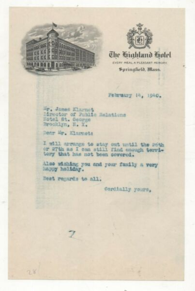Hotel Stationary For The Highland Hotel Springfield Mass 1940 $5.18