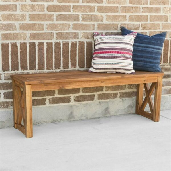 Pemberly Row X-Frame Patio Bench in Brown