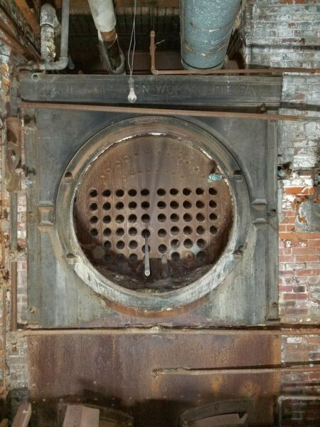 Erie City Iron Works Industrial Fire Tube Coal Steam Boiler Antique vintage