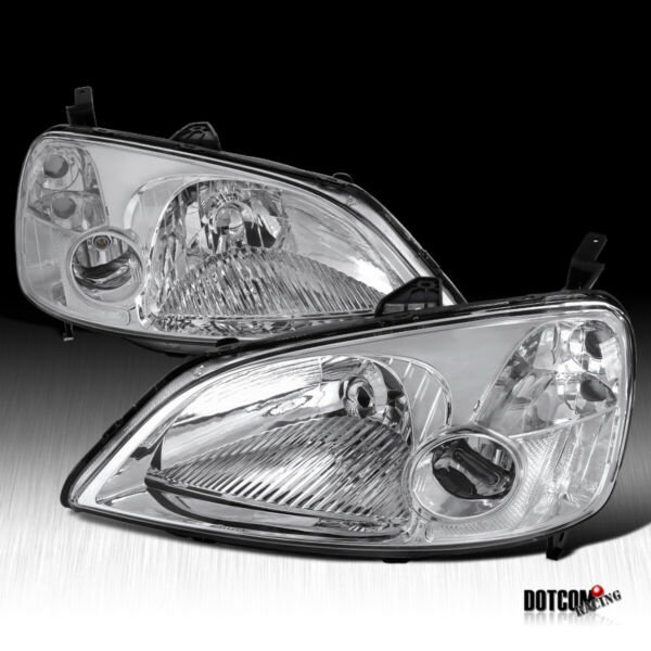 For 2001 2003 Honda Civic LX EX 2 4 Dr JDM Headlights Clear Driving Head Lamps