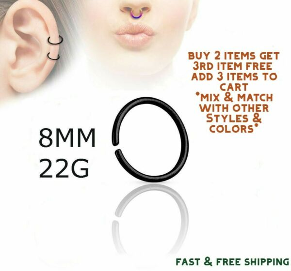 Black Titanium Anodized Stainless Steel Nose Ring Hoop 8mm 22 Gauge $2.69