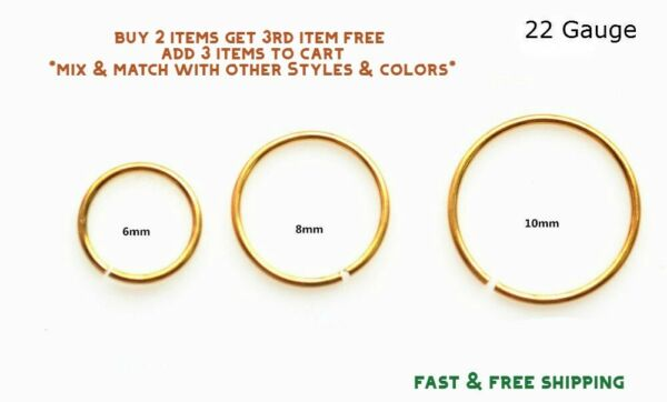 Gold Titanium Anodized Stainless Steel Nose Ring Hoop 8mm 22 Gauge $2.69