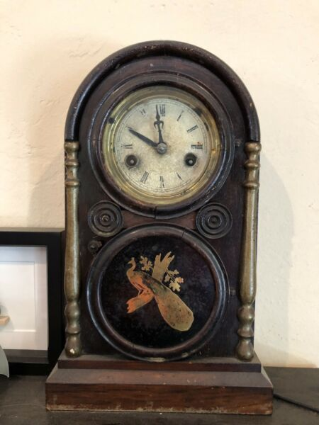 Antique mantle clock With Birds
