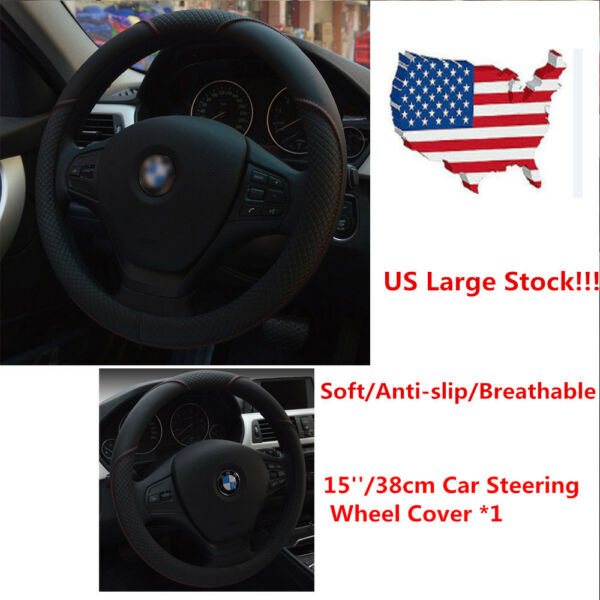 15''/38cm Car Steering Wheel Cover Microfiber Leather Breathable Anti-slip Black