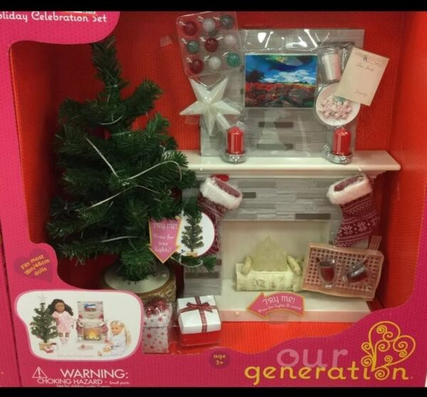 Our Generation Holiday Celebration Fireplace Set for 18