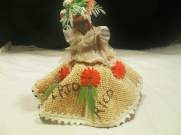 Carnival Doll Puerto Rico w Burlap Dress and Hat
