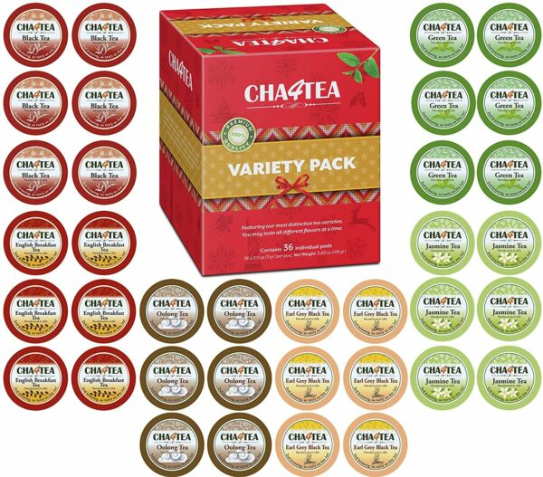 Cha4TEA 36 Keurig KCup Tea Variety Flavor Sampler Pack K Cups (Green Tea Black