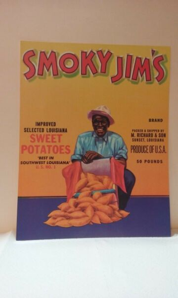 Vintage Produce Crate Labels - Black Americana - SMOKY JIM'S - Sweet Potatoes
