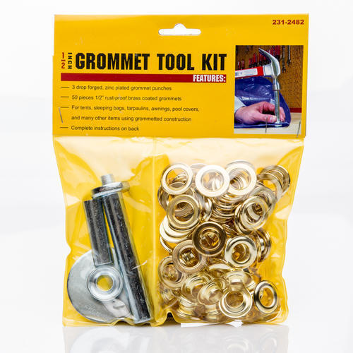 NEW Grommet Tool Kit with Fifty 50 1 2quot; Brass Coated Grommets