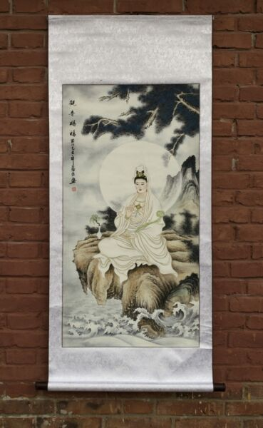 55quot; WOOD SCROLL BROCADE WATERCOLOR SILKPRINT PAINTING: KWAN YIN ON THE CLIFF $45.03