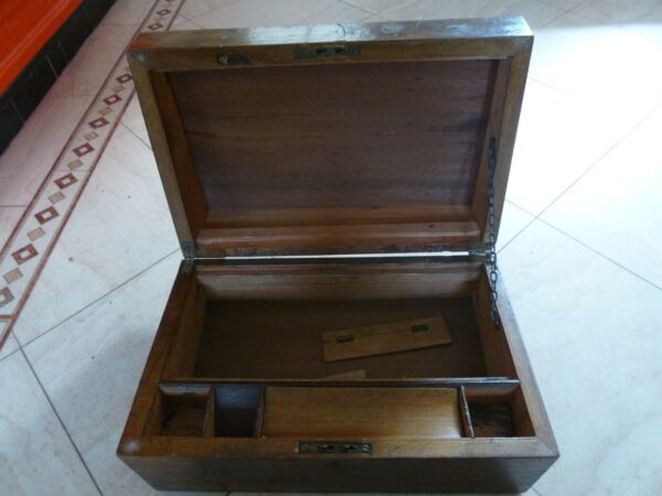 ANTIQUE VINTAGE  MAHOGANY WRITING SLOPE DEEP  DESK TOP STATIONERY STORAGE BOX