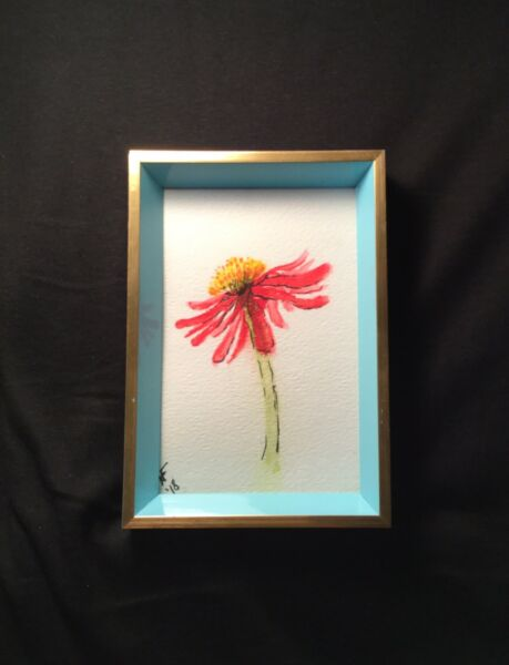 Original Art For Sale by the Artist.  Happy Cone Flower Painting. 4