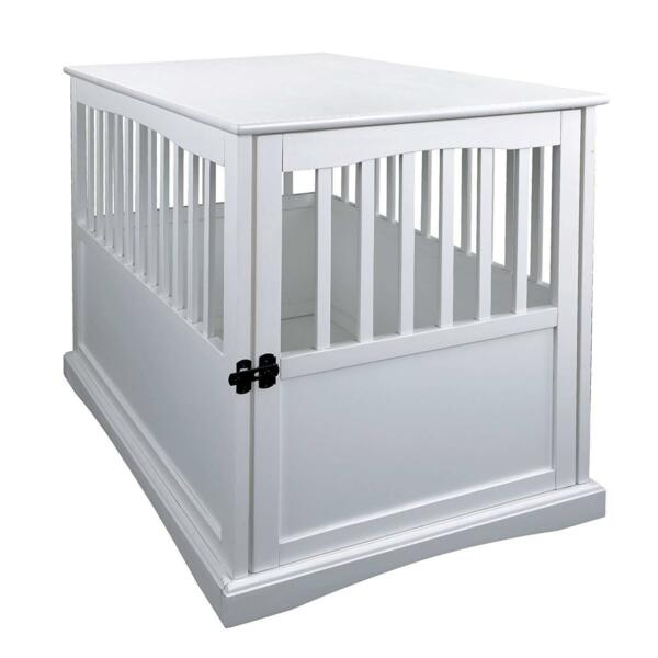 Casual Home 600-21 Wood Pet Crate End Table Dog Kennel in White Finish New