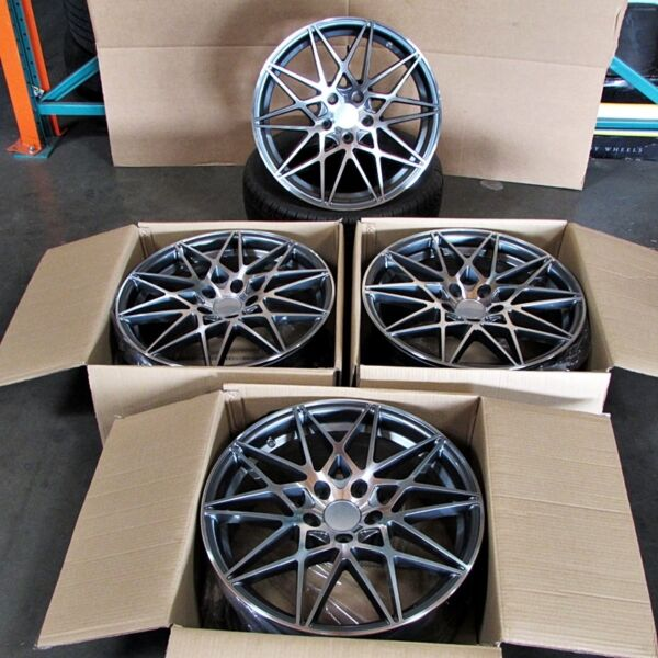 BMW M3 Style 18x8/9 5x120 ET35/37 Gunmetal Machined Face Staggered Wheel SET
