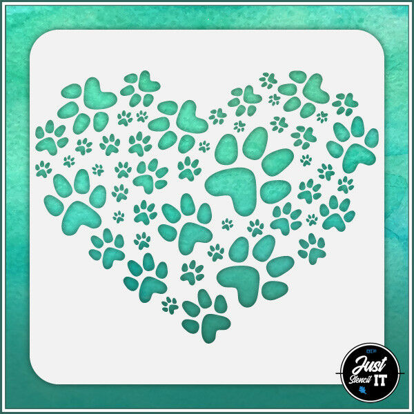 Dog Paw Heart durable and reusable stencil for DIY painting amp; crafts $6.00
