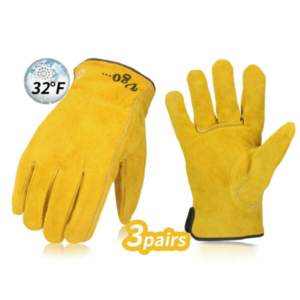 Vgo 3Pairs Lined Cowhide Split Winter Leather Work and Driver Gloves(CB9501F)