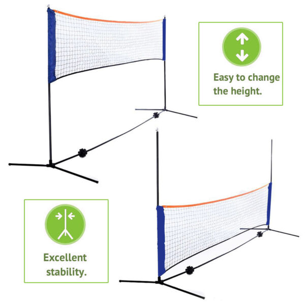10 Feet Portable Badminton Volleyball Tennis Net Set with StandFrame Carry Bag