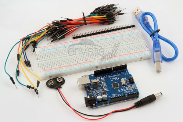 Arduino Uno Starter Kit 830 Point Breadboard 65 Jumpers USB & Battery Cables