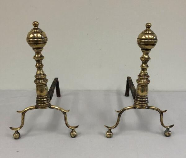 Early antique  American brass fireplace andirons New York or Boston  NE c 1820.
