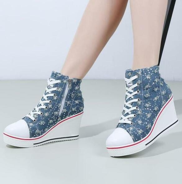 Womens High Top Plus SZ 2018 Denim Wedge High Heels Blue Sneakers Lace Up Shoes