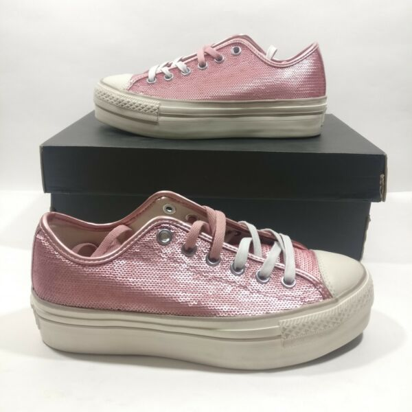 Womens Converse Ctas Sequin Platform Distressed Ox 559045C Mult Size Pink