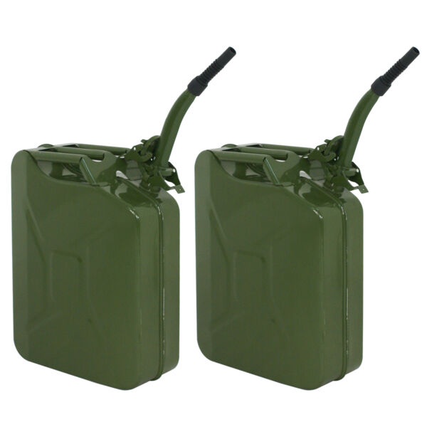 2X 5 Gal 20L NATO Style Jerry Can Gasoline Fuel Can Metal Tank Emergency Backup