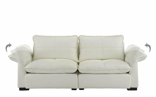 Beige Leather Sofa with Plush Cushions Leather Couch with Adjustable Armrests $649.99