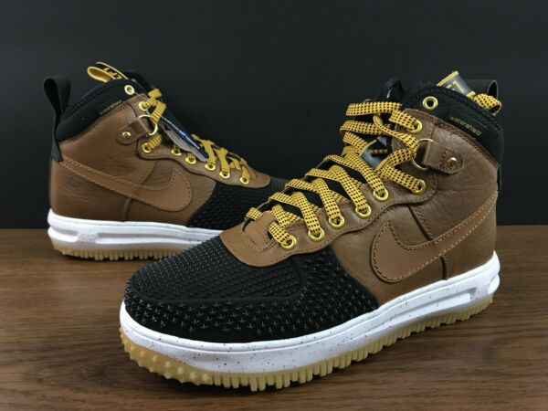 Nike Lunar Air Force 1 One Duckboot Tan Brown Black Duck Boot 805899-004 SZ 9.5