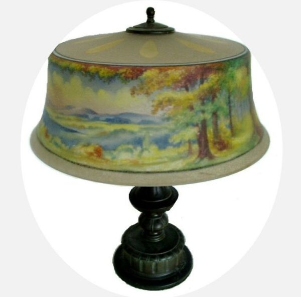 Pairpoint lamp - reverse painted shade - artist signed