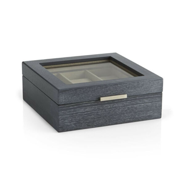 CRATE & BARREL Designer Lawler Grey Wood Jewelry Watch Case Box 2015