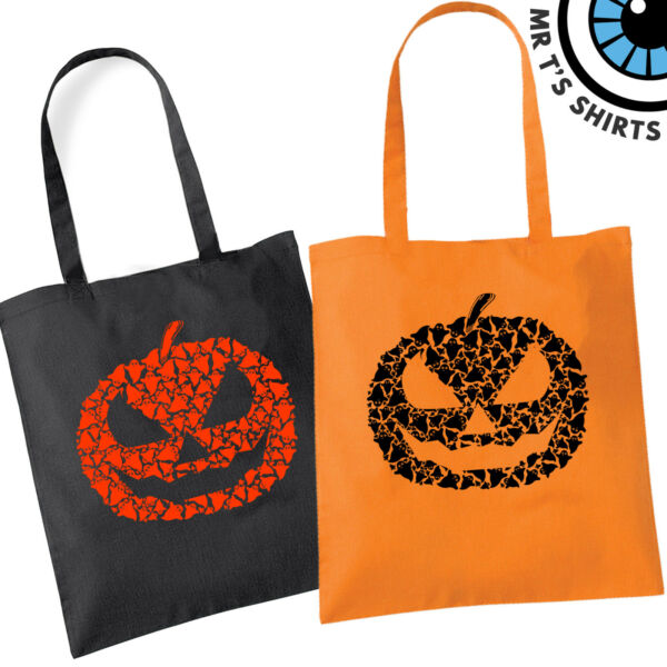 Ghost Pumpkin Halloween Tote Bag Fun Party Trick Treat Bags For Sweets