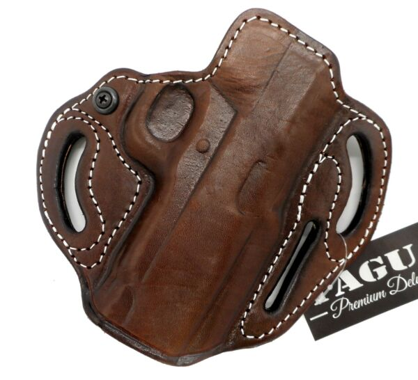 TAGUA Premium Brown Leather Open Top RH OWB Belt Holster for CZ 75 P 01 3.8quot;