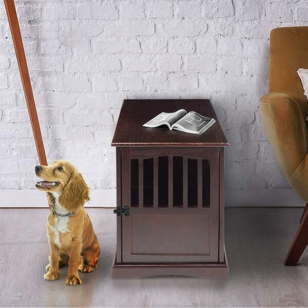 Wood Dog Crate Decorative Wooden Furniture Style Pet Cage End Table Design Puppy