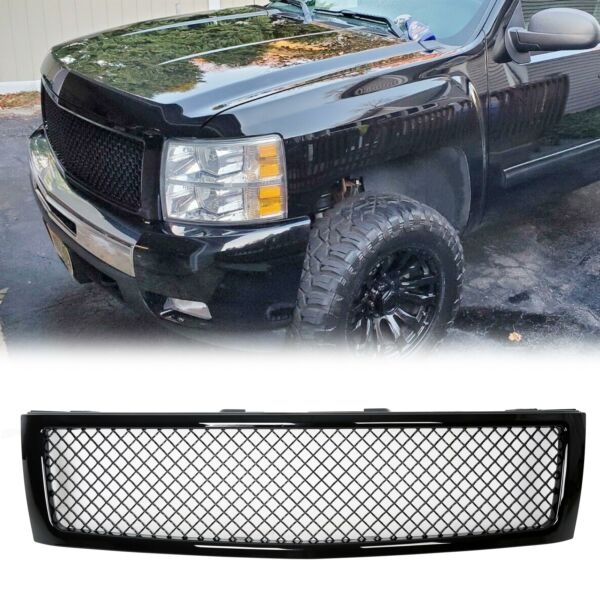 For 2007 2013 Chevy Silverado 1500 Glossy Black Front Hood Mesh Grill Grille