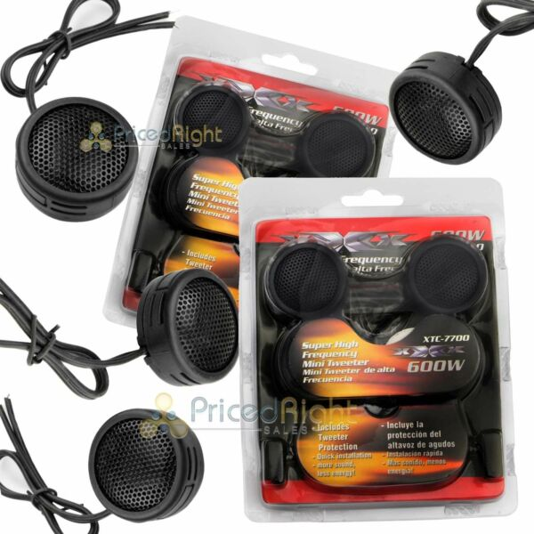 Two Pairs of 600W Super High Frequency Mini Car Dome Tweeters Built-In Crossover