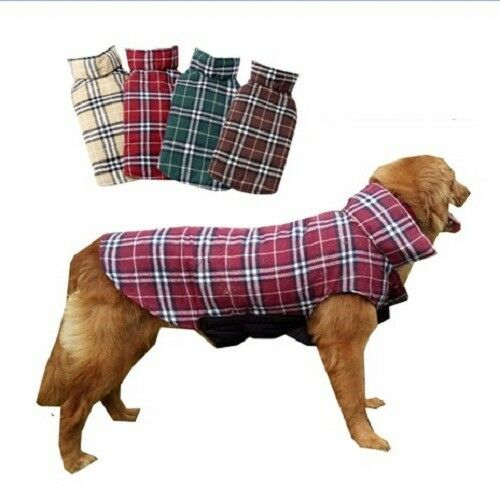 Dog Clothes Plaid Cotton Reversible Winter Waterproof Jacket Coat For Pet Puppy $16.99