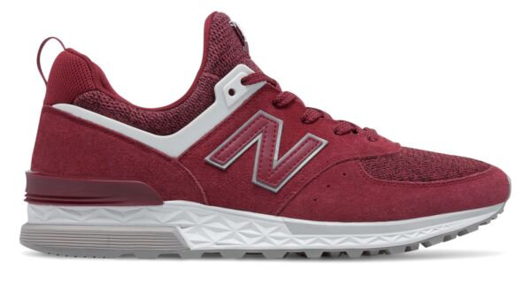 New Balance Men's 574 Sport Shoes Red with White