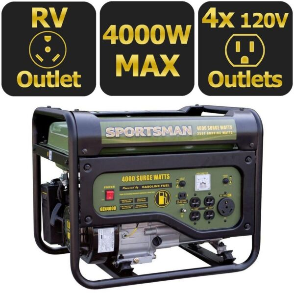 Portable Generator 4000 3500 Watt Gasoline Powered Recoil Start with RV Outlet
