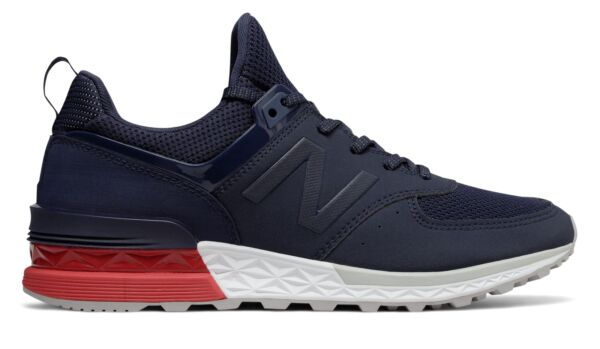 New Balance Men's 574 Sport Shoes Navy with Red