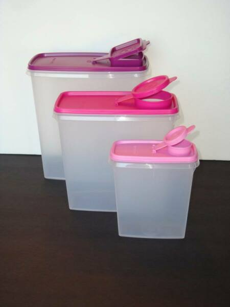 Tupperware Cereal Storers Set of Three 20~13~3.5 cups Pink Purple Rhub Seals New
