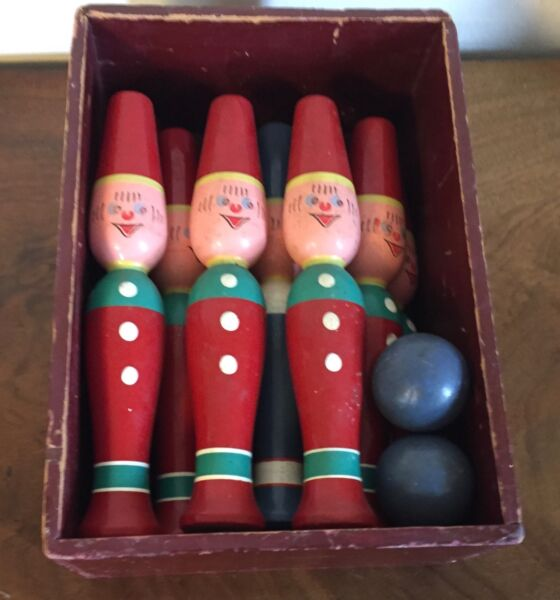 Vintage Carved Wood Bowling Clown 10 Pin Ball Game Toy Red Paint Decorated Box