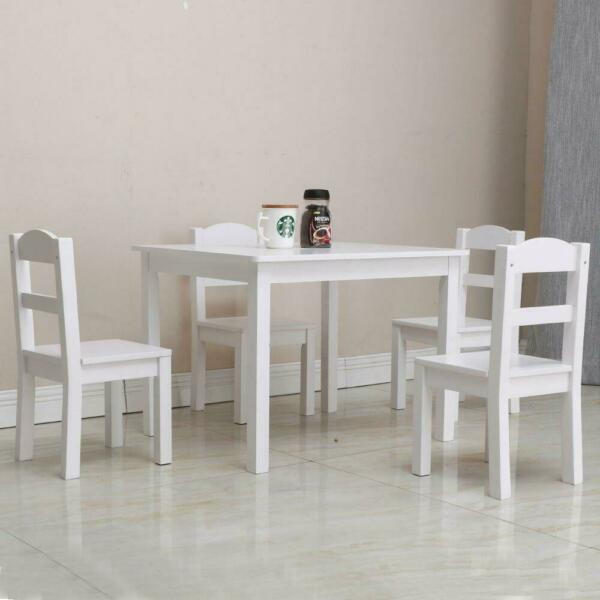 Kids White Square Table and 4 Pastel Chair  Play Set Wood Play Room Furniture