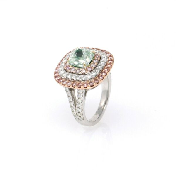 Fancy Intense Green GIA Diamond Engagement Ring (3.90 ct) Ring Size 6.5