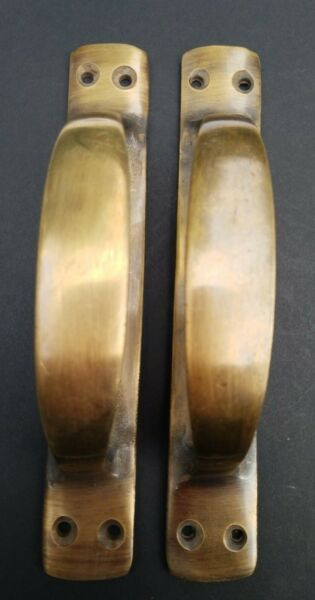 2 Antique Solid Brass Large Strong Gate Cabinet Trunk Chest Handles 6-38
