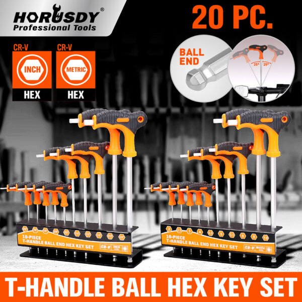 Ball End Hex Key Allen Wrench Set T-Handle Long Arm SAE & Metric Storage Stand