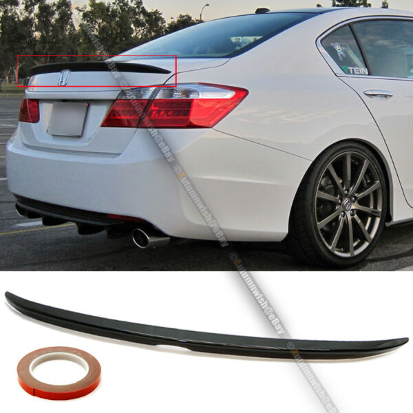 For 13-17 Honda ACCORD 4DR OE Style Trunk Lip Spoiler Wing Painted Glossy Black